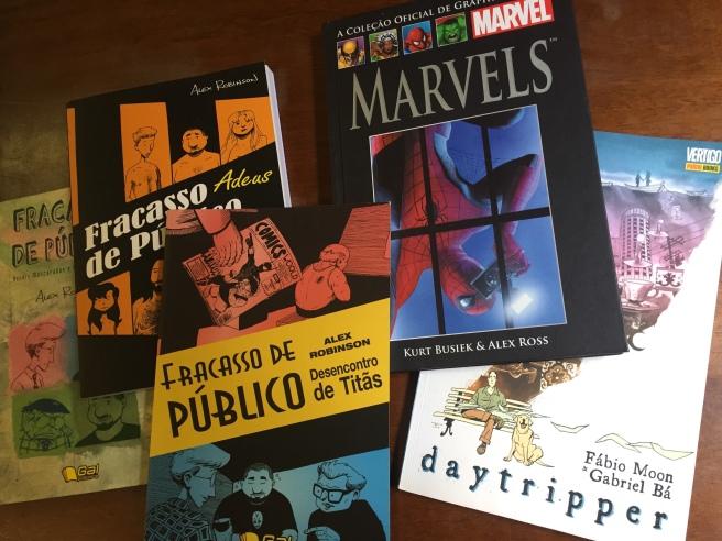 Capas dos quadrinhos Fracasso de Público, Marvels e Daytripper (Arquivo pessoal)